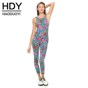 HDY Haoduoyi Fashion Print Women Jumpsuits High Waist Crew Neck Sleeveless Backless Jumpsuits Women Soft Slim Casual Jumpsuits