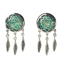 Steel Teal Opal Dreamcatcher Saddle Plug 2 Pack