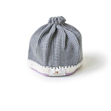 Knit Baby Hat - Stone/Lavender