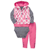 Carter's Girls 3 Piece Long Sleeve Top, Hooded Polka Dot Print Microfleece Vest, and Pant Set