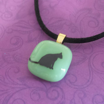 Mint Green Pendant with Black Cat Decal, Small Fused Glass Necklace - Torree --5
