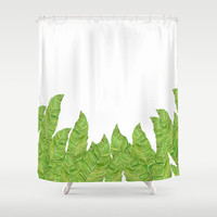 Foliage Shower Curtain - Vibrant  fabric shower curtain green and white, watercolor art, leaves, decor,beautiful, bright home