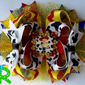 Toy story Jessie hair bow , ribbon cow ott bow, boutique bow for girls