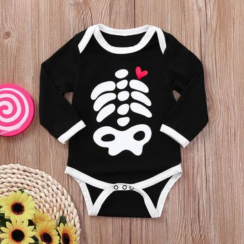 MUQGEW Halloween newborn baby clothes Baby Girls Boy fashion Skull Print Long Sleeve cute Autumn Bodysuit