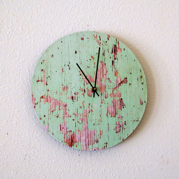 Cottage Chic Wall Clock, Green Recycled Clock, Unique Clock, Home and Living, Home Decor, Deocr and Housewares, Unique Gift, Reclaimed Wood