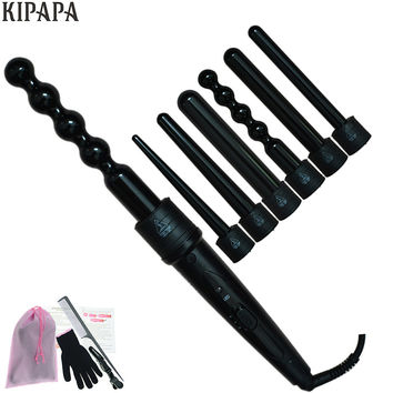 New 6 in 1 Clipless Ceramic Curling Wand Hair Curler Set Pro Interchangeable Barrel 9MM-32MM Tourmaline Curling Iron Machine