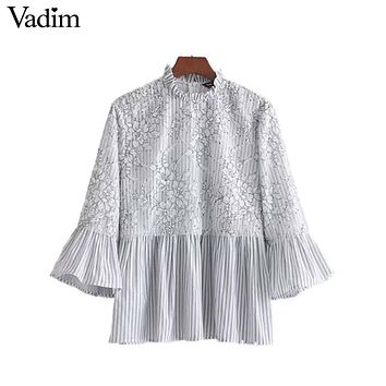 Women Sweet Lace Patchwork Floral Striped Shirt Flare Sleeve Ruffled Collar Blouse Pleated Fashion Tops