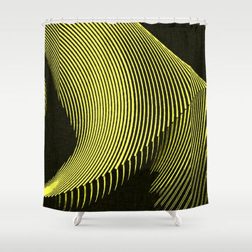 Line Art, yellow waves, geometric pattern Shower Curtain by Casemiro Arts - Peter Reiss