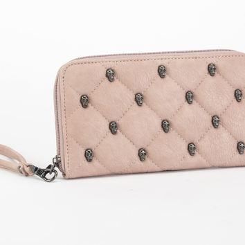 Quilted Skulls Wallet Blush