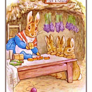 Mrs Rabbit Makes Dinner inspired by Beatrix Potter Counted Cross Stitch Pattern