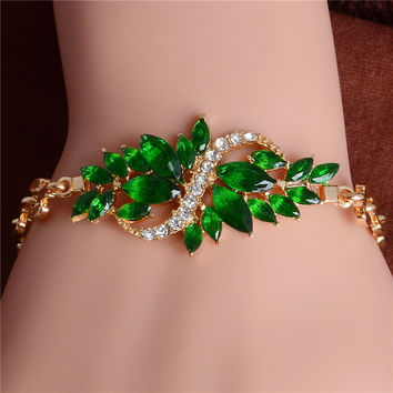 Free shipping Fashion Women/Lady's New Yellow Gold Color Austrian Crystal 5 Colors CZ Stones Bracelets & Bangles Jewelry
