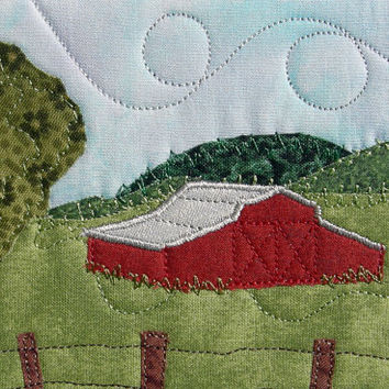 Fabric Postcard, Quilted Postcard, Barn in the Country Landscape, Quilted Greeting Card, Postcard Art,Farm Landscape,Handmade Quilt Postcard