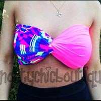 NEON BANDEAU wrap aztec tribal pattern hot coachella EDC neon pink trendy