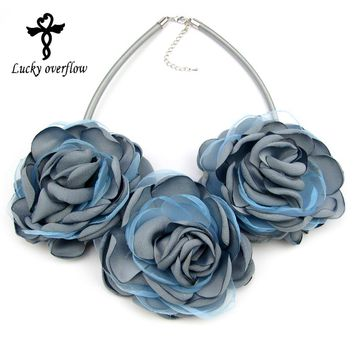 2018 women flowers choker necklace multilayer floral bohemian boho collar colorful blue big necklace pendants jewelry gift