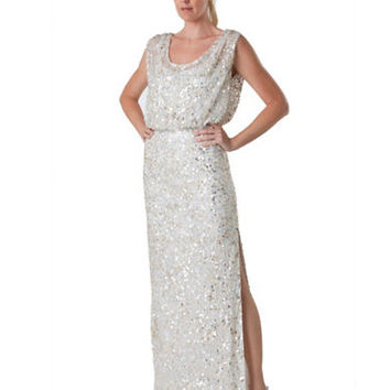 Js Collections Ivory Sequin Blouson Dress