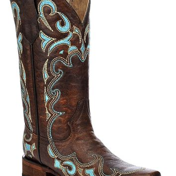 Circle G Women's Honey Embroidered Cowgirl Boot Square Toe - L5239