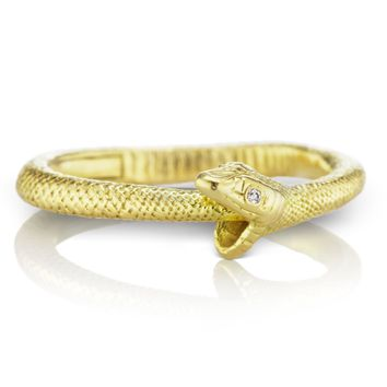 Anthony Lent Diamond Gold Ouroboros Snake Ring