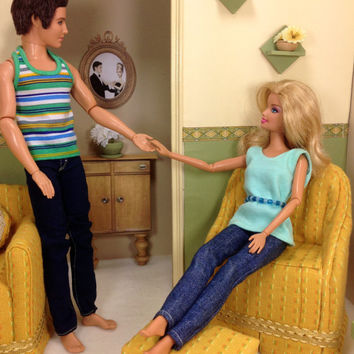 Play Scale Sofa, Chair, Ottoman, Coffee Table and End Table For Barbie Sized Dolls - Sunshine Yellow