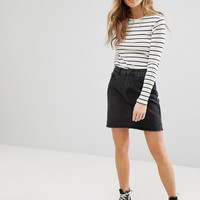 New Look Raw Hem Denim Mom Skirt at asos.com
