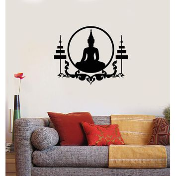 Vinyl Wall Decal Sitting Buddha Zen Buddhism Room Home Interior Stickers Mural (ig5782)