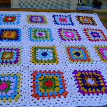 CROCHET BLANKET Handmade  Made in tradition granny by nannycheryl