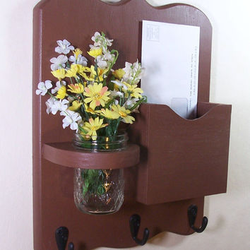 Mail Organizer - Mail Holder - Mail and Key Holder - Letter Holder -Key Hooks - Jar Vase - Organizer