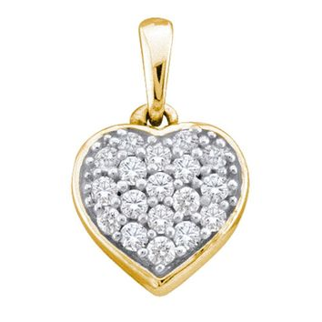 14kt Yellow Gold Womens Round Diamond Small Heart Cluster Pendant 1/10 Cttw