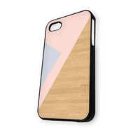 Geometric Wood Pink Grey iPhone 4/4S Case
