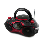 Quantum FX Radio CD-MP3 Player with USB-SD- Black-Red