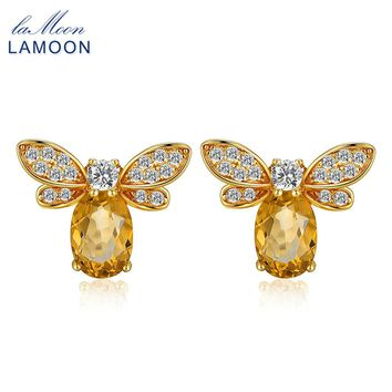 LAMOON 925 Sterling-silver-jewelry Earrings Bee 5x7mm 1ct 100% Natural Citrine 14K Yellow Gold Plated Stud Earring S925 EI041