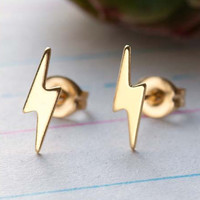 Tiny Gold Lightning Bolts Earrings