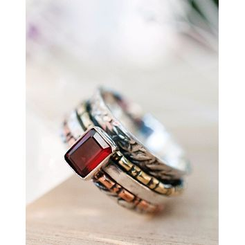 Barbara Meditation Ring - Garnet (BJS021)