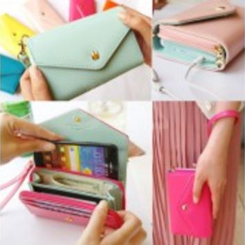 Crown Multi Propose Envelope Purse Wallet For Galaxy S3 S4 iPhone5 4 4S 7color