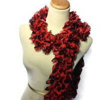 Red Scarf, Ruffle Scarf, Leopard Scarf, Hand Knit Scarf