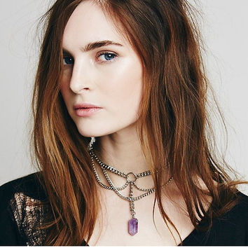 Artilady natural amethyst pendant necklace choker neck 2016 fashion jewelry for women