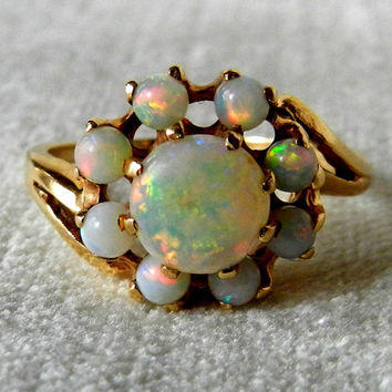 Opal Ring, 1.8 Ct Australian Black Opal Art Deco Rainbow Opal Halo Engagement Ring 14K, October Birthday Valentines Day Gift