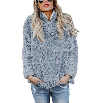 2018 Autumn New Winter Warm Hoodie Faux Fur Fluffy Flannel Women Sweatshirts Oversize red Hooded zipper Hoodies Female Pullover