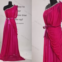 One Shoulder Chiffon Long Prom Dress//long evening dress//long bridesmaid dress//bridesmaid dress