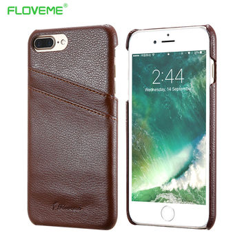 FLOVEME Brand Back Cover For iphone 6 6S 7 7 Plus Luxury Genuine Real Leather Phone Red Case Card Holder For iphone6 6S Plus 5.5