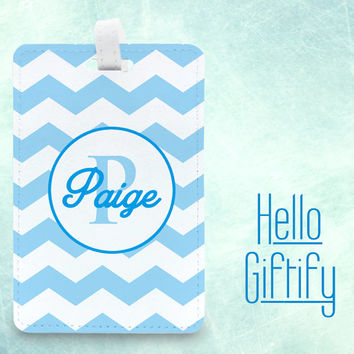travel luggage tag, Custom Name and Color Luggage Tag, Bag Tag, vacation accessory, wedding favor personalised tag, chevron style