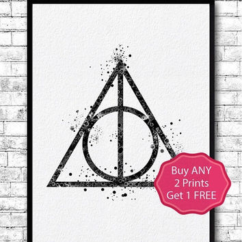 BLACK FRIDAY SALE 20% Off Harry Potter Deathly Hallows 4 Watercolor print Deathly Hallows Simbol, Deathly Hallows art, Giclee Wall Decor, Ar