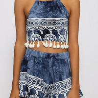 Blue Halter Backless Fringe Crop Top With Elephent Print Shorts