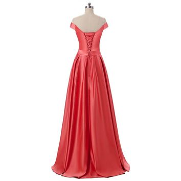 New Arrival Long Elegant A Line Prom Dresses Back Of Lace-Up Evening Dress Sashes