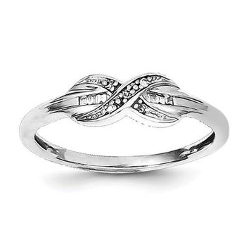 Sterling Silver Diamond Infinity Crossover & Baguette Ring