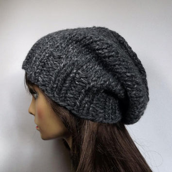 Slouch Hat Womens Hat Hand Knit Slouch Beanie Knit Mens Womens Hat- Charcoal Gray