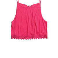 Lace Trim Muscle Tank - Pink