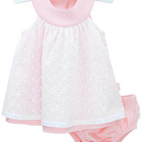 Baby Clothes | Le Top | pink dot dress with eyelet skirt & panty