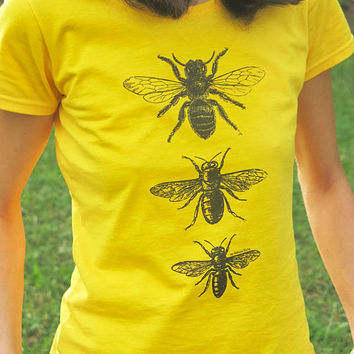 Vintage bees T-shirt-queen bee t-shirt-insect shirt-bee tees-bee shirt-Christmas gift-bee tee-holiday gift-cool tees-by NATURA PICTA NPTS052