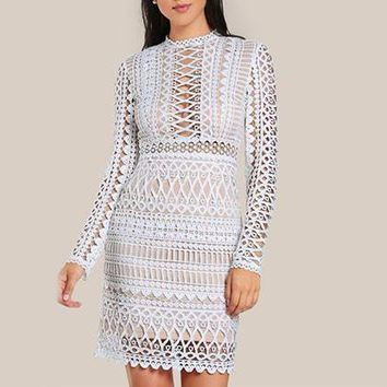 Circle Lace White Overlay Dress
