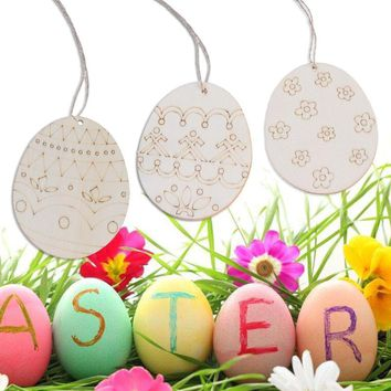 4/6Pcs Easter Egg Rabbit Wooden Tags Hanging Pendants Ornaments Holiday Easter Party Decoration Supplies Party Gifts